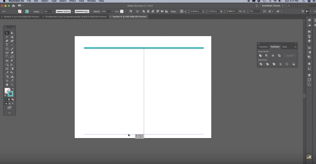 How to Make Chevron in Illustrator Step 2 Drag an identical line to the bottom of your art board
