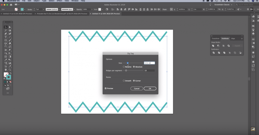 How to Make Chevron in Illustrator Step 4 adjust the size and ridges per segment to create zig zag lines