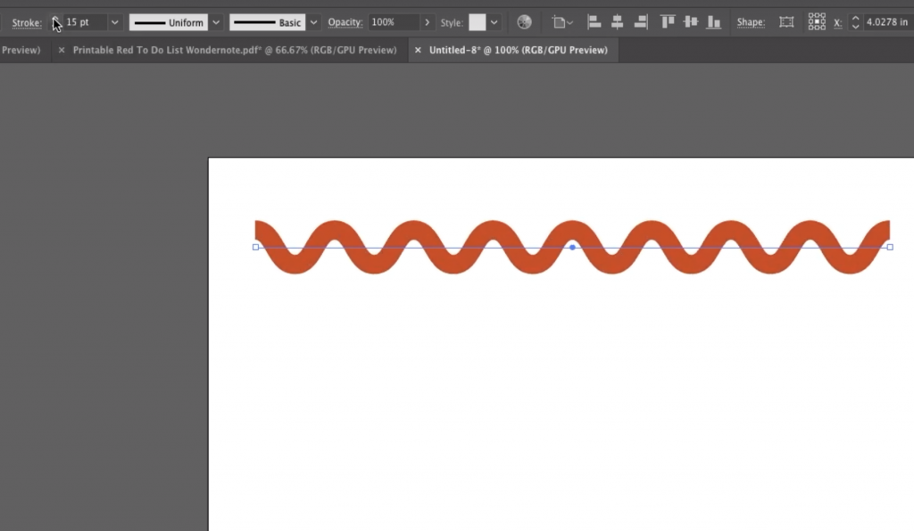 Make Ric Rac in Adobe Illustrator in 5 easy steps by  choosing rounded versus corner to make waves