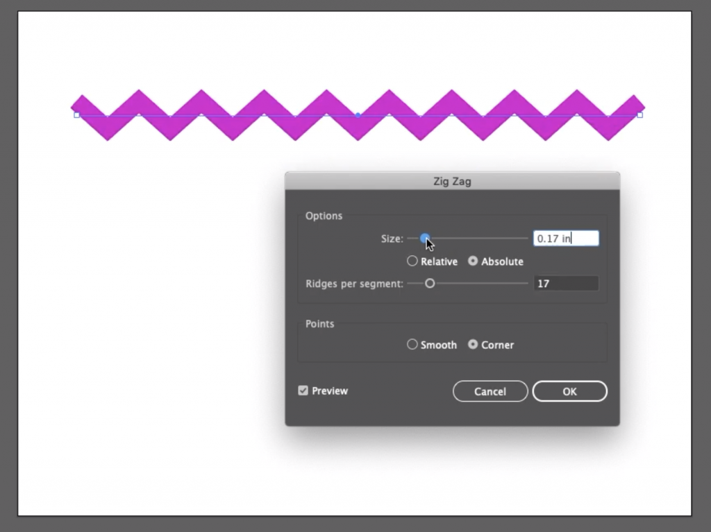 3 simple steps to create zig zag line in illustrator step 3 adjust the size and ridges per segment with the corner option selected tool easy tutorial