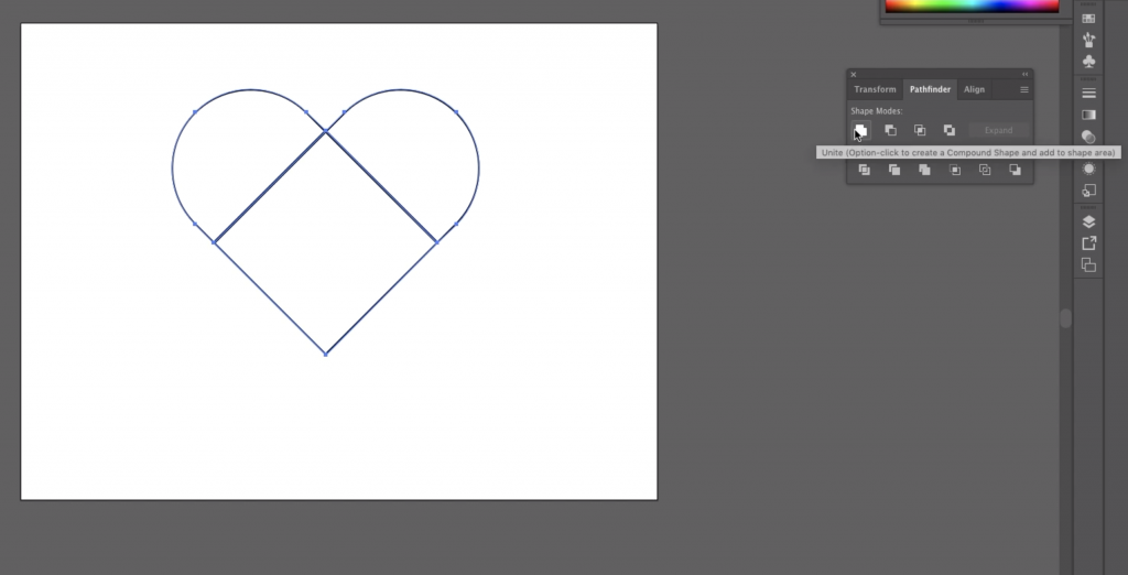 Make a Heart: Unite the 3 Remaining Shapes into a Heart with the Pathfinder Tool in Illustrator