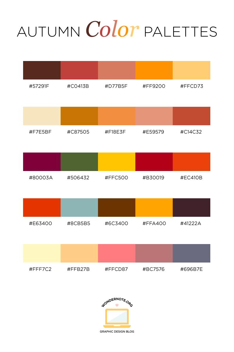 Autumn Color Palette for Graphic Web Print Design Wondernote