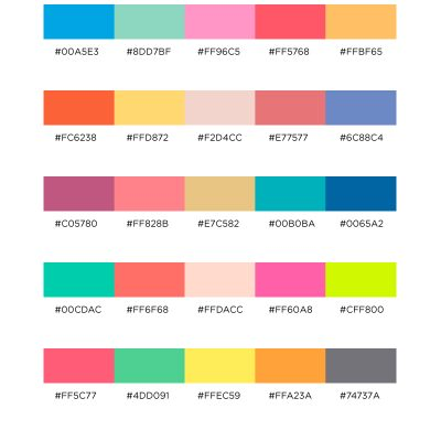 Color Palettes for Web, Digital, Blog & Graphic Design with Hexadecimal Codes