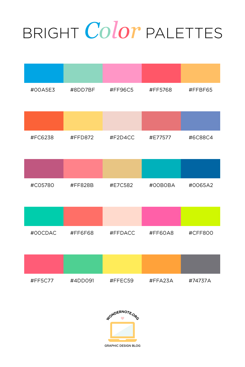 Bright Color Palette for Graphic Web Print Design Wondernote