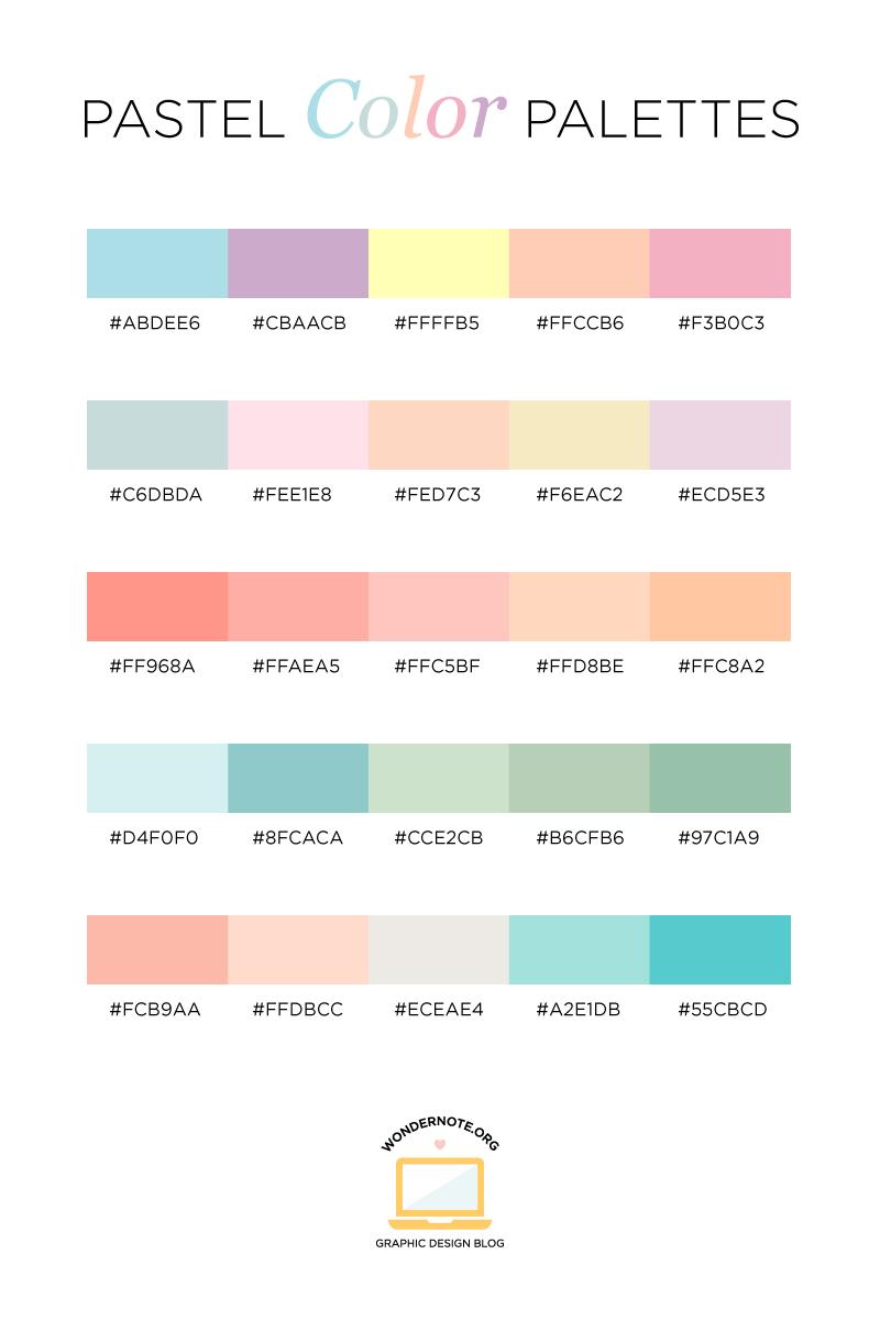Pastel Color Palette for Graphic Web Print Design Wondernote